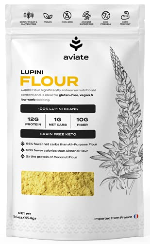Aviate Lupini FLOUR | Keto & Vegan Friendly Superfood | Non-GMO, Gluten Free | Lupin FLOUR Keto | High Protein, Low Carb, & Low Calorie | Rich in Dietary Fiber and Minerals | 100% Lupin Beans | 16 Ounces, 1 Pack