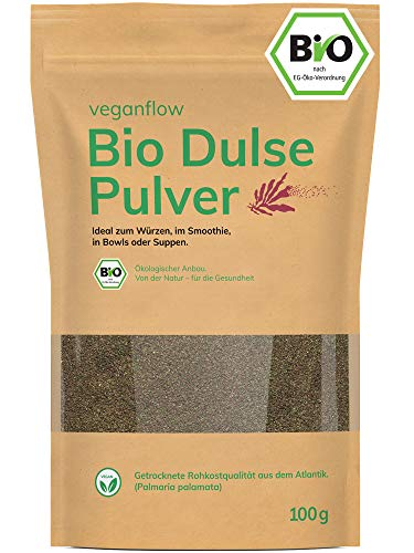 veganflow® Dulse Pulver Bio, Rotalgen Pulver für Smoothies, Lappentang Pulver aus dem Atlantik