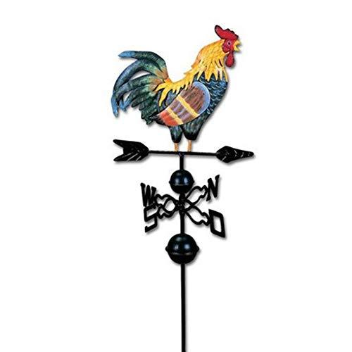 FLAMEER 3D Wetterfahne Hahn aus Metall mit Fuß Garten Dekoration Windrad Eisen Antik Stil Iron Weather Vane