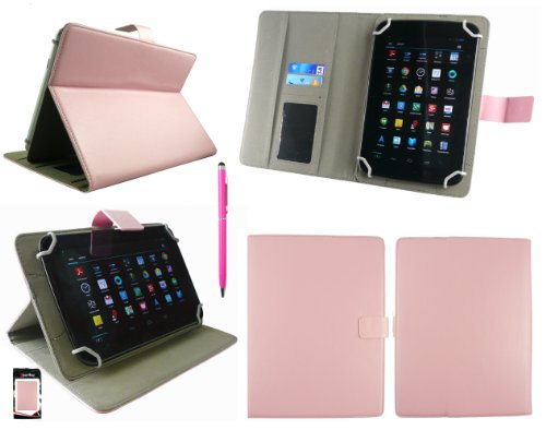 emartbuy Hot Rosa 2 in 1 Eingabestift +Universalbereich Baby Rosa Multi Winkel Folio Cover Wallet Hülle Schutzhülle mit Kartensteckplätze Geeignet für Odys Junior Tab 8 Pro 8