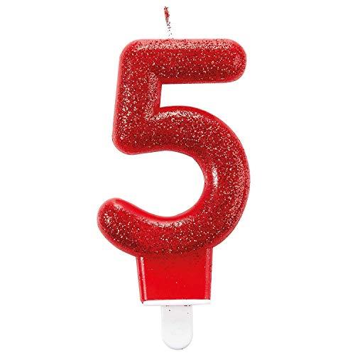 Amscan, 9900766, candelina di compleanno con glitter, 7,6 cm, numero 5