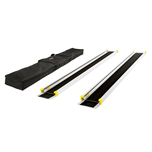 Silver Spring – Telescoping Wheelchair Track Ramps – with Storage Bag – Adjusts 5-1/2' to 10' Long – Lightweight Aluminum Construction – 600 lb. Capacity – Non-Skid Surface – 7-1/2