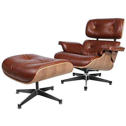 CN Cover Mid Century Lounge Chair, Chaiselongue Mit 8-Lagigem Sockel Aus Walnussholz Und Aluminium, Moderner Massivholzstuhl Aus Hochwertigem Leder