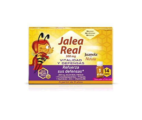 JUANOLA Jalea Real Niños - 14 Viales - Complemento alimenticio con jalea real fresca, fructooligosacáridos, própolis, extracto de equinácea, zinc y vitamina B6.