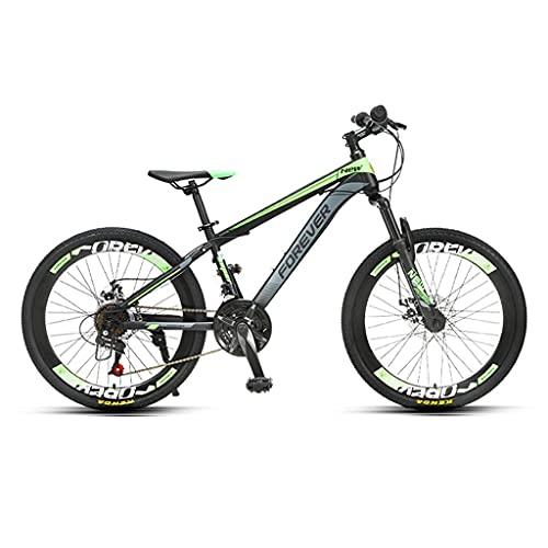 ZXQZ Bicicletas de Montaña, Bicicletas de 24 Velocidades para Adolescentes con Frenos de Disco Mecánicos Delanteros y Traseros, para Niños Y Niñas de 140-170cm (Color : Green)