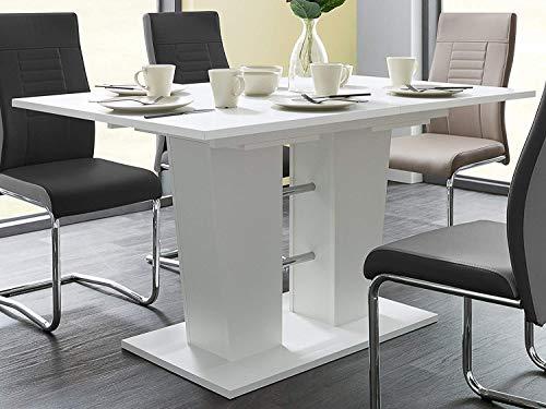 Newfurn Esstisch Tisch Weiß Esszimmertisch Küchentisch Speisetisch II 140-180x75x 90 cm (BxHxT) Synchronauszug, ausziehbar bis 180 cm, 22mm, ABS-Kante