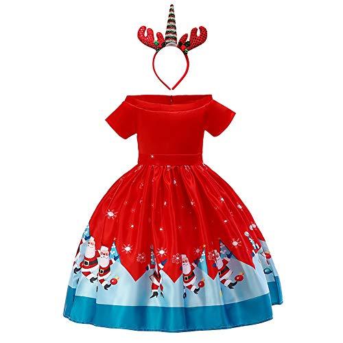 FYMNSI Kerstjurk voor babymeisjes, kinderen, kerstfeest, kerstman, sneeuwpop, rendier, bloemen, kant, prinsessenjurk, avondjurk, feestelijke kerstkleding, carnavalskleding. - rood - Medium