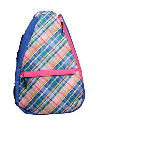 Glove It Tennis Backpack for Women, Lightweight Ladies Tennis Bag & Sling Backpack for 2 Racquets, Balls, Water Bottle, Blue Leopard, Plaid Sorbet, one Size (TR283)