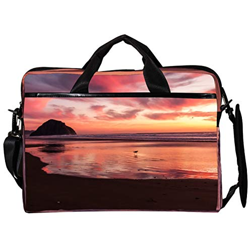Lightweight 15 inch Laptop Bag ,Business Messenger Briefcases Seagull Wading in Sea at Sunset Waterproof Computer Tablet Shoulder Bag Carrying Case Handbag for Men and Women