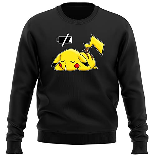 Okiwoki Pull Noir Parodie Pokémon - Pikachu - Batterie à Plat ! (Sweatshirt de qualité Premium de Taille M - imprimé en France)