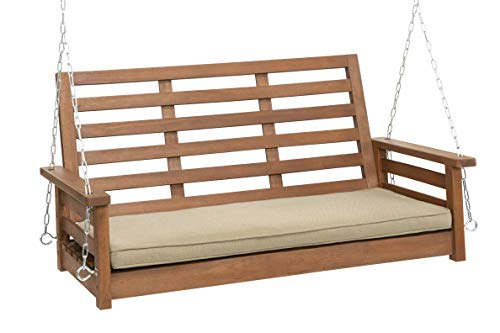 Woodlawn&Home 4' Porch Swing in Oil Finish with Olefin Cushion, 901166
