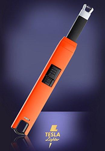 TESLA Lighter TESLA Lighter T07 Lichtbogen-Feuerzeug, elektronisches USB Stabfeuerzeug, Single-Arc Lighter, wiederaufladbar Orange Orange
