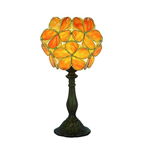 Tiffany Lámpara De Mesa Hermosas Flores Rosadas Con Aleación De Zinc Base, Bombilla For Uso En Interiores Solamente For La Cabecera Del Dormitorio De La Sala De Estar (Color : Orange)