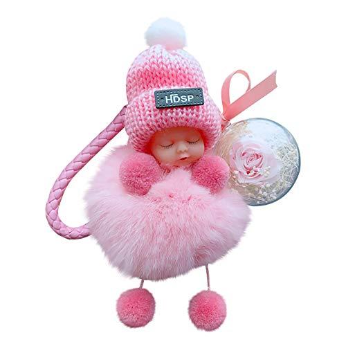 Key Pendant Cute Sleep Baby Doll Rose Keychain Bowtie Pompom Fur Fluffy Key Ring Bag Wallet Handing Ornament for Key Bag Mobile Phone Valentine's Day