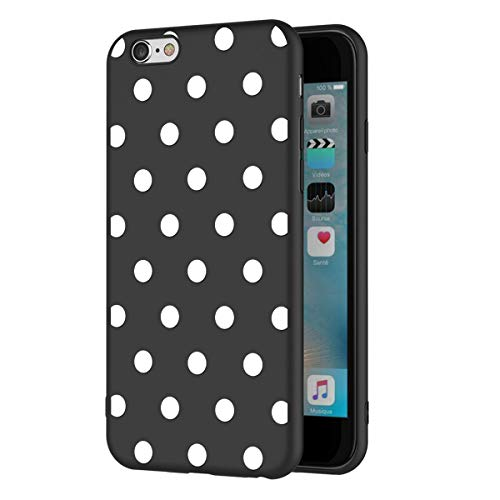 ZhuoFan Funda iPhone 6s Plus, iPhone 6 Plus Cárcasa Silicona Ultrafina Negra con Dibujos Diseño TPU Antigolpes de Protector Piel Case Cover Bumper Fundas para Movil Apple 6sPlus / 6Plus, Lunares blanc