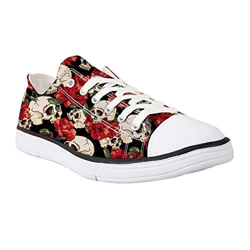 Showudesigns Animal Damen-Sneakers aus Segeltuch, mit Schnürung, Sneakers, modische Pumps, weiß/blau/grau/grün, Rot - Totenkopf Blume - Größe: 42 EU