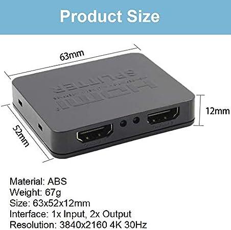 HDMI-Splitter 1 in 2 Out f/ür 2 gleiche Ausg/änge HDMI-Splitter 4K HDMI-Splitter 1-in-2-Ausgang unterst/ützt 4K 3D 1080P mit High Speed USB Kabel