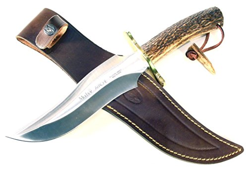 Muela Apache Red Stag Horn Handle Hunting Knife with Leather Sheath, 7-5/8'
