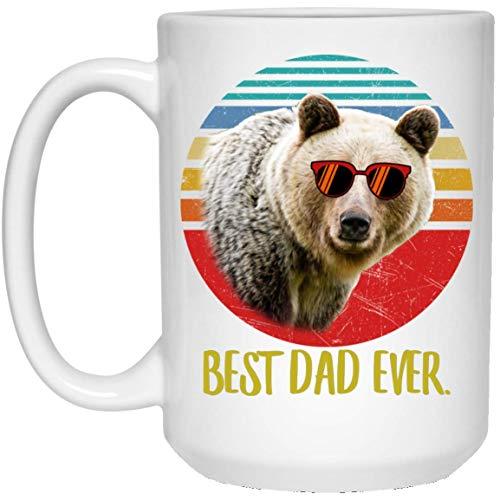 N\A Taza de café Retro Divertida del Mejor Oso marrón Claro papá Siempre Puesta del Sol