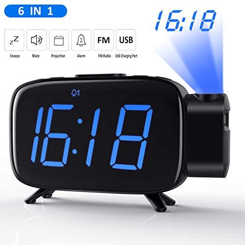 Tinzzi Projektionswecker, FM Radiowecker Digital Wecker, Digitaluhr, Tischuhr, Alarm Clock,Dual-Alarm,5\'\' LED-Anzeige,7 Alarmton Musikalarme, 5 \' Snooze, Nacht sichtbar, 3 Helligkeit