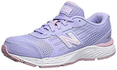 New Balance Kid's 680 V5 Lace-Up Running Shoe, Clear Amethyst/Oxygen Pink, 6 W US Big Kid by New Balance
