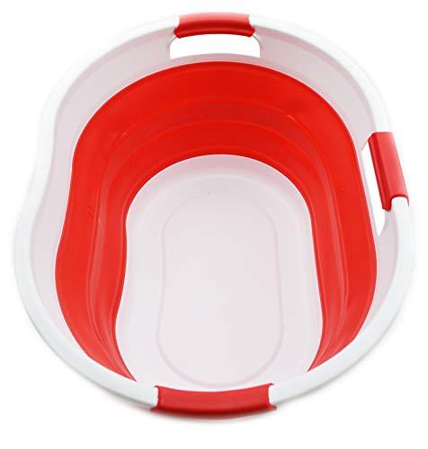 SAMMART 36L Plegable Cesta de lavandería de plástico con 3 manijas-Contenedor de Almacenamiento Plegable Plegable-Tina de Lavado portátil-Cesta de Ahorro de Espacio/Capacidad de Agua 27L (Rojo)