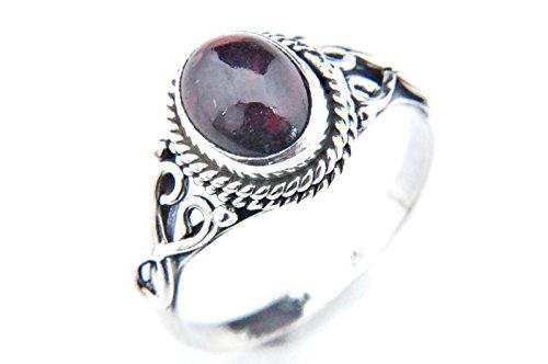 Ring Silber 925 Sterlingsilber Granat rot Stein (Nr: MRI 42), Ringgröße:54 mm/Ø 17.2 mm