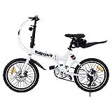 MuGuang Bicicleta Plegable, 20 Pulgadas, 7 velocidades, con luz LED y batería, Bolsa para Asiento y Campana para Bicicleta (Blanca)