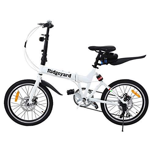 MuGuang - Bicicletta Pieghevole, 20 Pollici, 7 Marce, con Luce a LED a Batteria, Custodia e Campanello per Bicicletta (Bianco)
