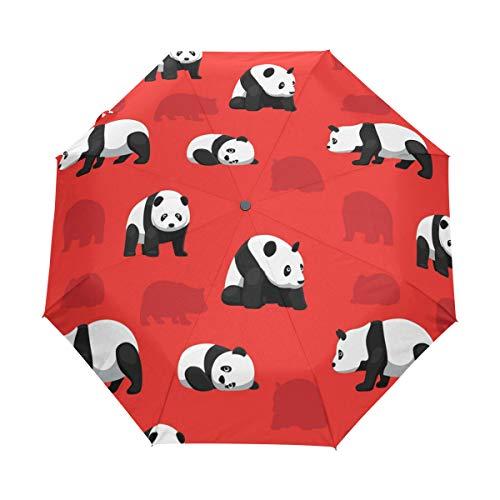 Hunihuni - Paraguas plegable con diseño de oso panda, resistente al viento, resistente al agua, protección contra rayos UV