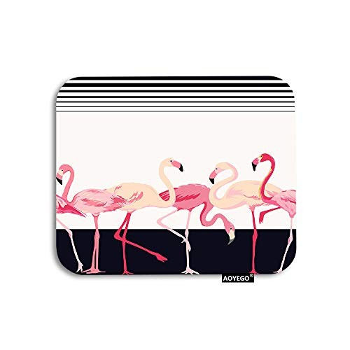 AOYEGO Flamingo Mouse Pad Tropical Pink Bird in Black White Stripes Gaming Mousepad Rubber Large Pad Non-Slip for Computer Laptop Office Work Desk 9.5x7.9 Inch
