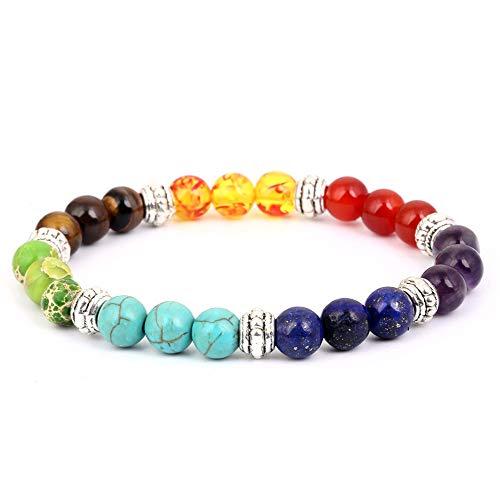 Pulsera de triple chakra con caja de regalo - Pulsera de curación de ansiedad de piedras preciosas naturales AKIMO, 7 cuentas de piedra Equilibrio de yoga Reiki Lucky Charm Pulsera para hombres, plata