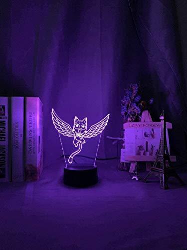 Baby Spielzeug Guirnalda de luces 3D para niños y niñas diseño de cola de hadas feliz mosca gato diseño para niños dormitorio cambiador de color anime lámpara LED 16 colores táctil