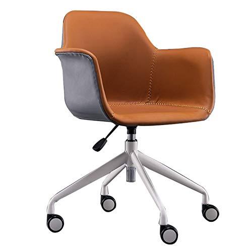 Silla giratoria de escritorio Elegante silla giratoria de cuero para computadora Silla de oficina en casa de estilo nórdico Respaldo ergonómico Silla de escritorio de lujo con esponja ajustable en