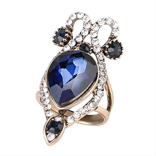 IWINO Boutique met de hand bijgesneden damesring Sapphire Crystal Ring Ring