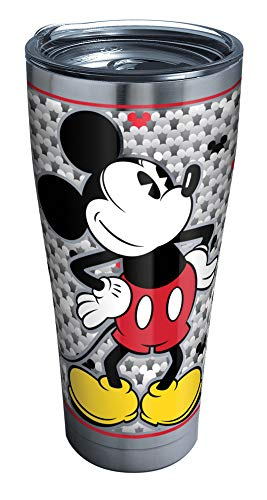Tervis 1292885 Disney-Mickey Mouse Tumbler with Clear and Black Hammer Lid, 30 oz Stainless Steel, Silver