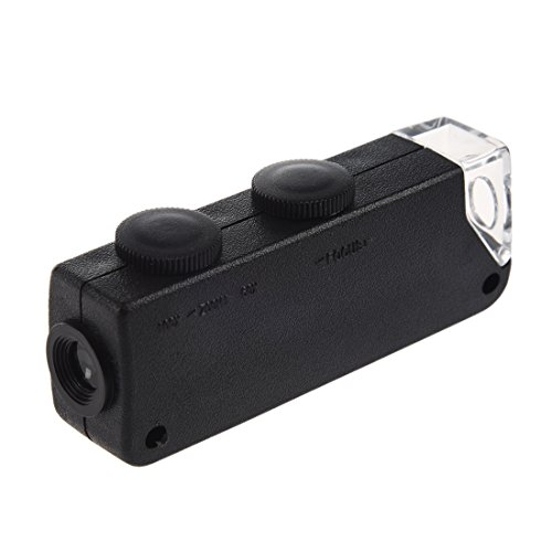 SODIAL(R) Taschenmikroskop 60X-100X Zoom Mini Mikroskop LED Licht Lupe NEU