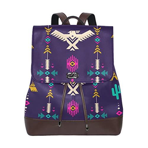 JINCAII Neón Multicolor Tribal Vector Mochila de cuero sin costura Bolsa Mochila universitaria Cordón de cuero Impermeable Mujer Bolsos de moda Mochila para niña Cuero
