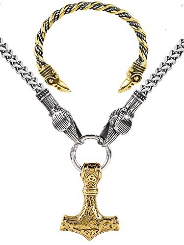 Grandes Juegos de Pulsera y Collar de Cuervo de Odin, Réplica de Collar Vikingo Mjolnir para Hombre, Regalo de Joyería Retro de Mitología Nórdica,Oro