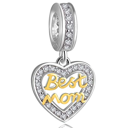 ZIYOU Ziyou Best Mom Heart Bracelet Charms - 925 Sterling Silver Dangle/Dangling Pendants/Beads - Fit Pandora Charm Bracelets, Necklaces, European Snake Chains - Mother'S Day/Thanksgiving Gifts.