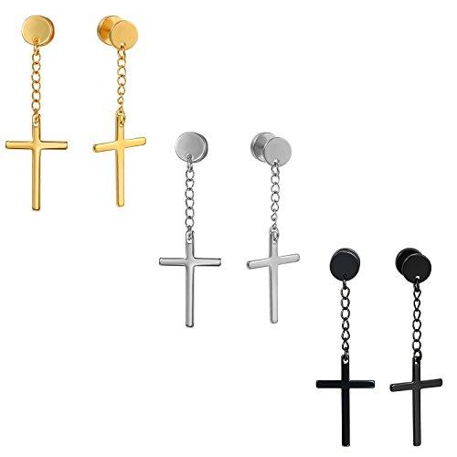 Flongo Pendientes de tuerca para hombre y mujer, estilo vintage, 6 unidades, de acero inoxidable, con forma de cruz religiosa