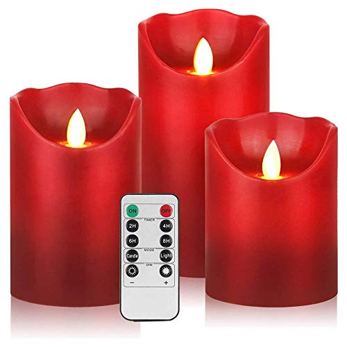 AnnSpa 3 Set LED Candles Battery Operated with 10-Key Remote Control and Cycling 24 Hours Timer, Red Flameless Real Wax Flickering Moving Wick Flickering Amber Yellow Light Pillar Candles