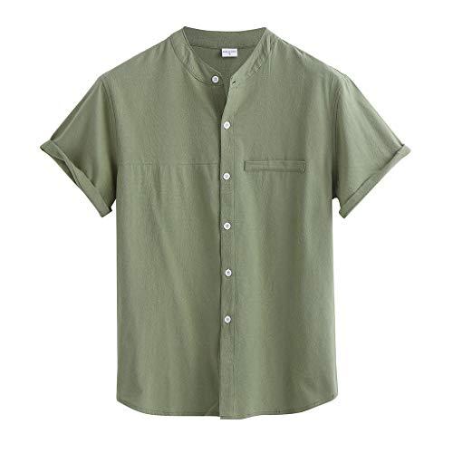 Realde Herren Kurzarm T-Shirt Baumwolle und Leinen V-Ausschnitt 3D Drucken Slim Fit Top Beiläufig Knopfleiste Freizeithemd Bluse Bequem Atmungsaktiv Oberteil Weiß Größe M-3XL