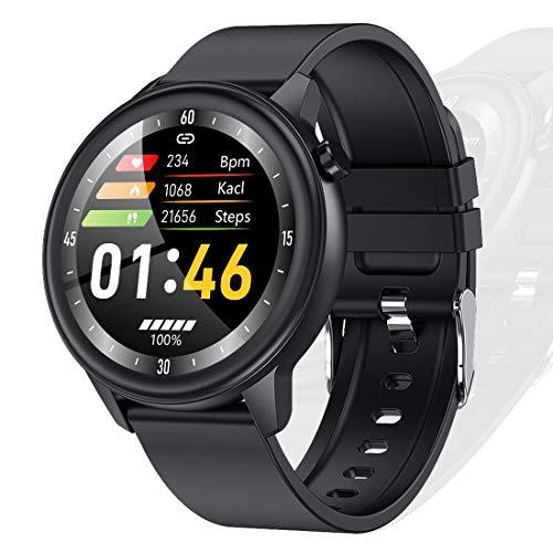 Temperatura Smartwatch Uomo Donna con Monitor della frequenza cardiaca Avviso di messaggio Monitoraggio meteo Pedometro 1,3 pollici Full Touch Screen IP68 impermeabile fitness tracker Orologio Nero