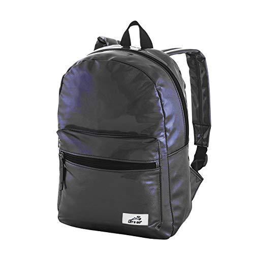 Let's Go Damen Rucksack Glitter Daypack in auffälligen Farben, moderner Damenrucksack in Metallic, Kleiner modischer Backpack für Mädchen (schwarz)