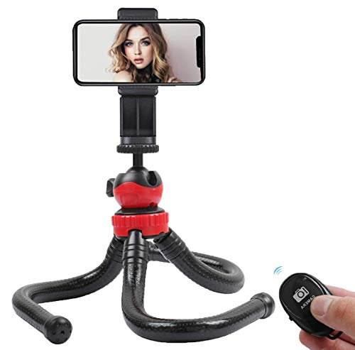 KTUPA Flexible Phone Tripod, Waterproof Travel Tripod Stand for iPhone with Smartphone Mount and Wireless Remote Shutter, Portable Tripod for Phone, Camera and Microphone