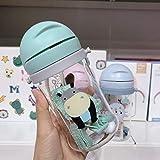 1Pcs 250ml Baby Kids Bambini Cartoon Animal School Bottiglia d'acqua potabile Tazza con tracolla con alimentazione a tracolla - 350ml-Blu