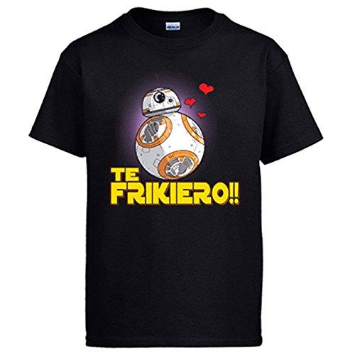 Diver Camisetas Camiseta te frikiero Regalo Amor Frikis Parodia BB8 - Negro, 3-4 años