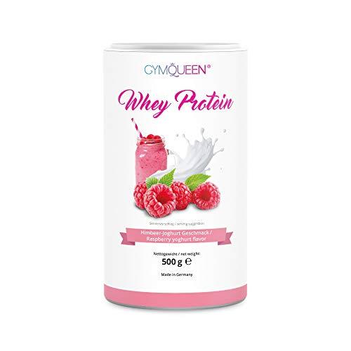 GymQueen Whey Protein 500g | Eiweißpulver, Protein-Shake | kann den Muskelaufbau unterstützen | Protein-Pulver mit 72% Eiweiß | Kalorienarm & Aspartamfrei | Himbeer-Joghurt