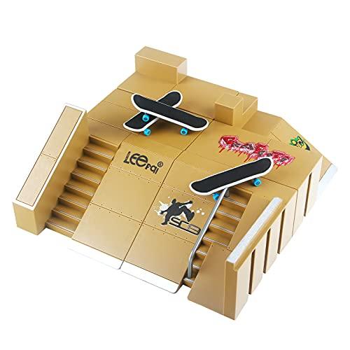 GoldenPlayer Monopatines de Juguete para Dedos 8PCS Dedo Skate Park Kit Mini Antiestrés Dedo Parque de Patinaje Kit Deck Skate Cretivo Juguete para Niños
